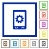 Mobile options outlined flat color icons flat framed icons - Mobile options outlined flat color icons flat color icons in square frames on white background