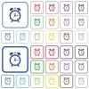 Alarm clock outlined flat color icons - Alarm clock color flat icons in rounded square frames. Thin and thick versions included.