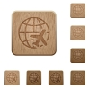 World travel wooden buttons - World travel on rounded square carved wooden button styles