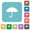 Umbrella rounded square flat icons - Umbrella white flat icons on color rounded square backgrounds