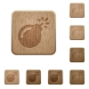 Bomb with sparkling fuse on rounded square carved wooden button styles - Bomb with sparkling fuse wooden buttons