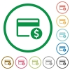 Dollar credit card flat icons with outlines - Dollar credit card flat color icons in round outlines on white background