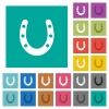 Horseshoe square flat multi colored icons - Horseshoe multi colored flat icons on plain square backgrounds. Included white and darker icon variations for hover or active effects.