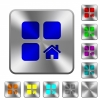 Default component rounded square steel buttons - Default component engraved icons on rounded square glossy steel buttons