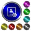 Contact properties luminous coin-like round color buttons - Contact properties icons on round luminous coin-like color steel buttons