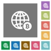 Online Bitcoin payment square flat icons - Online Bitcoin payment flat icons on simple color square backgrounds