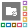 Cloud directory square flat icons - Cloud directory flat icons on simple color square backgrounds