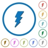 Lightning energy icons with shadows and outlines - Lightning energy flat color vector icons with shadows in round outlines on white background