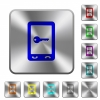Mobile secure rounded square steel buttons - Mobile secure engraved icons on rounded square glossy steel buttons