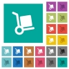 Hand truck square flat multi colored icons - Hand truck multi colored flat icons on plain square backgrounds. Included white and darker icon variations for hover or active effects.