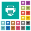 Shared printer square flat multi colored icons - Shared printer multi colored flat icons on plain square backgrounds. Included white and darker icon variations for hover or active effects.