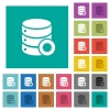 Certified database square flat multi colored icons - Certified database multi colored flat icons on plain square backgrounds. Included white and darker icon variations for hover or active effects.