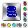 Database macro fast backward rounded square steel buttons - Database macro fast backward engraved icons on rounded square glossy steel buttons