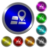 Location pin on map luminous coin-like round color buttons - Location pin on map icons on round luminous coin-like color steel buttons