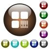 Archive component color glass buttons - Archive component white icons on round color glass buttons