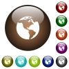 Earth color glass buttons - Earth white icons on round color glass buttons