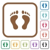 Human Footprints simple icons - Human Footprints simple icons in color rounded square frames on white background