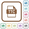TTC file format simple icons - TTC file format simple icons in color rounded square frames on white background