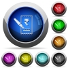 Signing Rupee cheque round glossy buttons - Signing Rupee cheque icons in round glossy buttons with steel frames