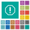 Octagon shaped error sign square flat multi colored icons - Octagon shaped error sign multi colored flat icons on plain square backgrounds. Included white and darker icon variations for hover or active effects.