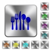 Cutlery rounded square steel buttons - Cutlery engraved icons on rounded square glossy steel buttons