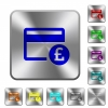 Pound credit card rounded square steel buttons - Pound credit card engraved icons on rounded square glossy steel buttons