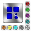 Component owner rounded square steel buttons - Component owner engraved icons on rounded square glossy steel buttons