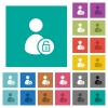 Unlock user account square flat multi colored icons - Unlock user account multi colored flat icons on plain square backgrounds. Included white and darker icon variations for hover or active effects.