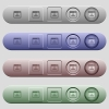 Networking application icons on horizontal menu bars - Networking application icons on rounded horizontal menu bars in different colors and button styles