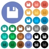 Save data round flat multi colored icons - Save data multi colored flat icons on round backgrounds. Included white, light and dark icon variations for hover and active status effects, and bonus shades on black backgounds.