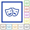 Comedy and tragedy theatrical masks flat framed icons - Comedy and tragedy theatrical masks flat color icons in square frames on white background