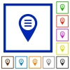 GPS map location options flat framed icons - GPS map location options flat color icons in square frames on white background