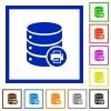 Print Database data flat framed icons - Print Database data flat color icons in square frames on white background