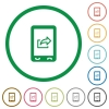 Mobile export data flat icons with outlines - Mobile export data flat color icons in round outlines on white background