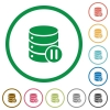 Database macro pause flat icons with outlines - Database macro pause flat color icons in round outlines on white background