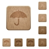 Umbrella wooden buttons - Umbrella on rounded square carved wooden button styles