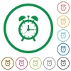 Alarm clock flat icons with outlines - Alarm clock flat color icons in round outlines on white background