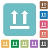 Side up sign rounded square flat icons - Side up sign white flat icons on color rounded square backgrounds