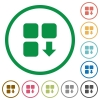 Move down component flat icons with outlines - Move down component flat color icons in round outlines on white background