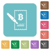 Signing Bitcoin cheque rounded square flat icons - Signing Bitcoin cheque white flat icons on color rounded square backgrounds