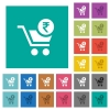 Checkout with Rupee cart square flat multi colored icons - Checkout with Rupee cart multi colored flat icons on plain square backgrounds. Included white and darker icon variations for hover or active effects.