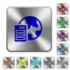 Web hosting engraved icons on rounded square glossy steel buttons - Web hosting rounded square steel buttons