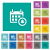 Calendar alarm square flat multi colored icons - Calendar alarm multi colored flat icons on plain square backgrounds. Included white and darker icon variations for hover or active effects.