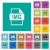 IMG file format square flat multi colored icons - IMG file format multi colored flat icons on plain square backgrounds. Included white and darker icon variations for hover or active effects.
