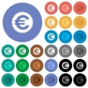 Euro sticker round flat multi colored icons - Euro sticker multi colored flat icons on round backgrounds. Included white, light and dark icon variations for hover and active status effects, and bonus shades on black backgounds.