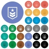 Military rank round flat multi colored icons - Military rank multi colored flat icons on round backgrounds. Included white, light and dark icon variations for hover and active status effects, and bonus shades on black backgounds.