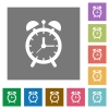 Alarm clock square flat icons - Alarm clock flat icons on simple color square backgrounds