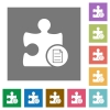 Plugin properties square flat icons - Plugin properties flat icons on simple color square backgrounds