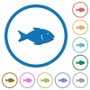 Fish icons with shadows and outlines - Fish flat color vector icons with shadows in round outlines on white background