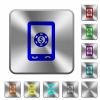 Mobile casino rounded square steel buttons - Mobile casino engraved icons on rounded square glossy steel buttons
